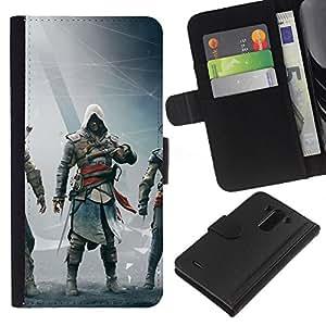 LECELL--Cuero de la tarjeta la carpeta del tirón Smartphone Slots Protección Holder For LG G3 -- Asesinos Bandera Negro --
