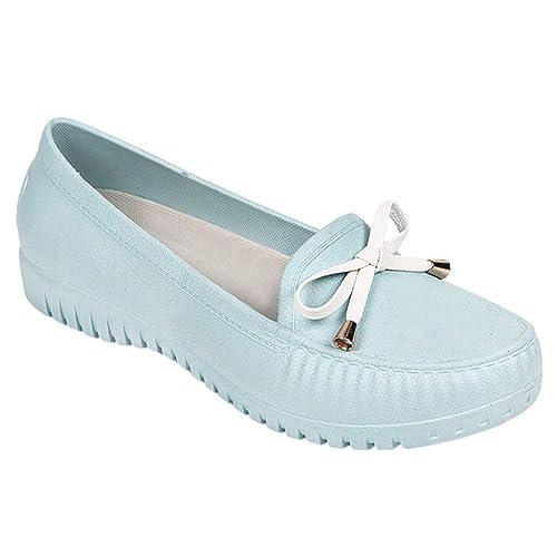 f765ef23 Tenthree Zapatos Planos Mocasines Mujeres - Suelas de Goma CÓModos  Ocasionales Antideslizantes Impermeables Moda Zapatos de