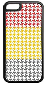 Colorblock Houndstooth-Red, Mustard, Slate- Case for the APPLE iphone 5 5s ONLY-NOT FOR THE iphone 5 5s !!!-Hard Black Plastic Outer Case