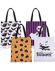 Vergissmeinnicht 4 stuks Halloween zeildoek tote tassen grote zoete of zure draagtassen cadeautassen herbruikbare snoep goodie zakken pompoen heksenpatroon dood party tassen 44x36cm