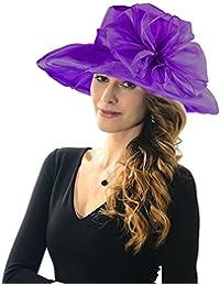Women Organza Kentucky Derby Fascinator Lady Cocktail Tea Party Church  Wedding Bridal Flower Hat 86a1c900b3c