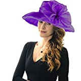 Acecharming Women's Summer Party Kentucky Derby Church Wide Brim Floral Organza Hat (Purple)