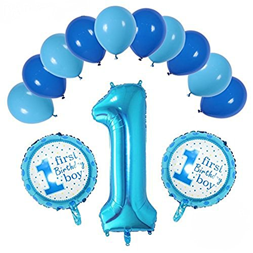 First Baby Boy Happy Birthday Party Blue & Sky Blue Color Balloons with One 36