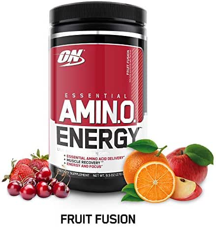OPTIMUM NUTRITION ESSENTIAL AMINO ENERGY, Fruit Fusion, Keto Friendly Preworkout and Essential Amino Acids with Green Tea and Green Coffee Extract, 9.5 Ounce (1 Count)