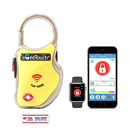 eGeeTouch Smart Travel Padlock w/Patented Dual Access Technologies (NFC + BT), Vicinity Tracking, etc. (Yellow)