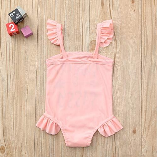 TEVEQ Toddler Kids Girls Summer Swimwear Ruffles Floral Print Swimsuit Bikini Outfits