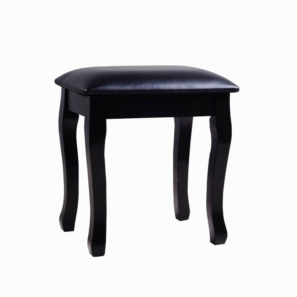 Facilehome Dressing Stool Makeup Stool with Cushion Piano Seat,Black