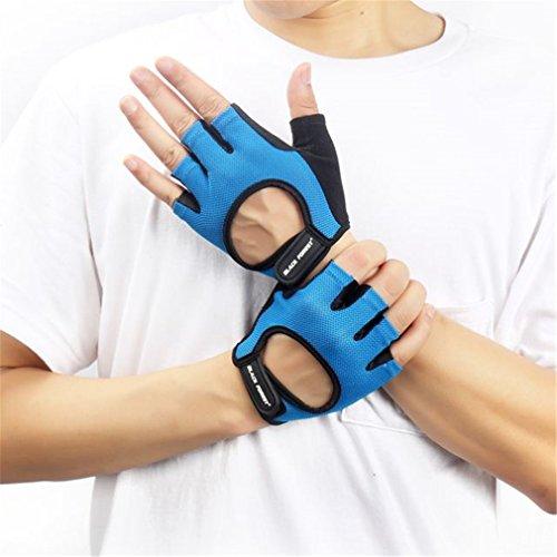 Designbestye Women Men Bodybuilding Weight Lifting Excise Gloves Hollow Anti Slip Gym Fingerless Glove Blue XL