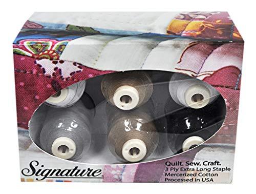 Cotton Mini King Spools - Signature 60 Cotton Mini King 6 Spool Gift Pack - Neutrals