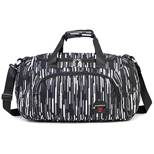 AOKE Small Holdall Weekender Bag Barrel Bag Duffle Luggage with Adjustable Shoulder Strap for Short Trip Black Candy Color by AOKE