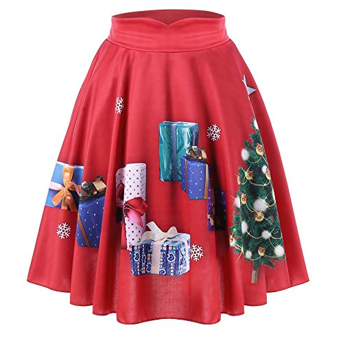 Birdfly Women Christmas Costume Tree and Gift Print All-red Pleated Skirt Clearence (S, Red)