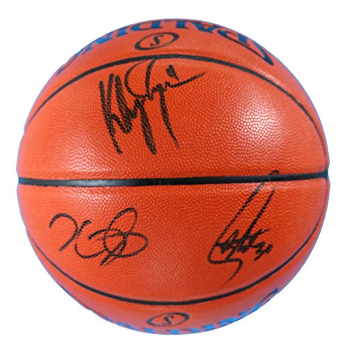 Kevin Durant, Stephen Curry and Klay Thompson Golden State Warriors Signed Autographed Spalding NBA Game Ball Series Basketball PAAS COA