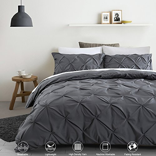 Ucharge Unique Pinch Pleat Pintuck Duvet Cover Set,3 Pieces Decorative Stylish Brushed Microfiber Bedding Set With Zipper and Corner Ties (Queen Dark Grey)