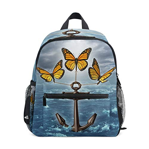 Bardic Toddler Kids Backpack Butterfly Anchor Ocean 12 Inch Preschool Backpack Mini Casual Daypack for Boy Girl