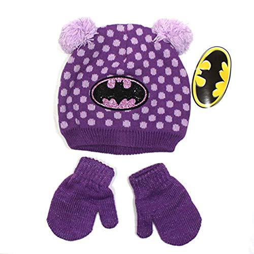 DC Comics Batman Toddler Girls Pom Pom Beanie Hat & Mittens Set (2T-4T, Purple) -