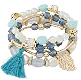 My Best Friend Forever Handmade Blue, Black Brown, White, Pink and Gold Boho Bracelet With Fringe Effects and Chic Tassel Charm Beads- Leaf Pendant Stretch Layer Boho Braclet Stacks Set