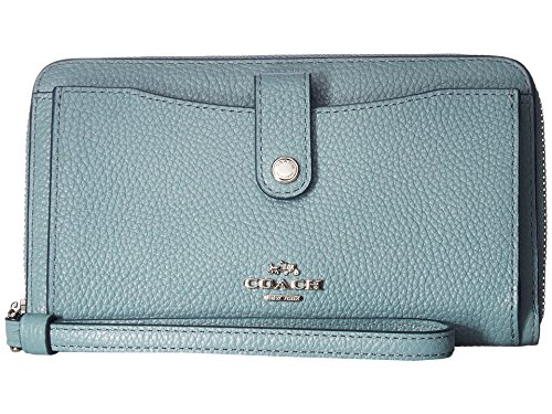 COACH Women's Polished Pebbled Leather Phone Wallet Sv/Cloud Wallets by Coach