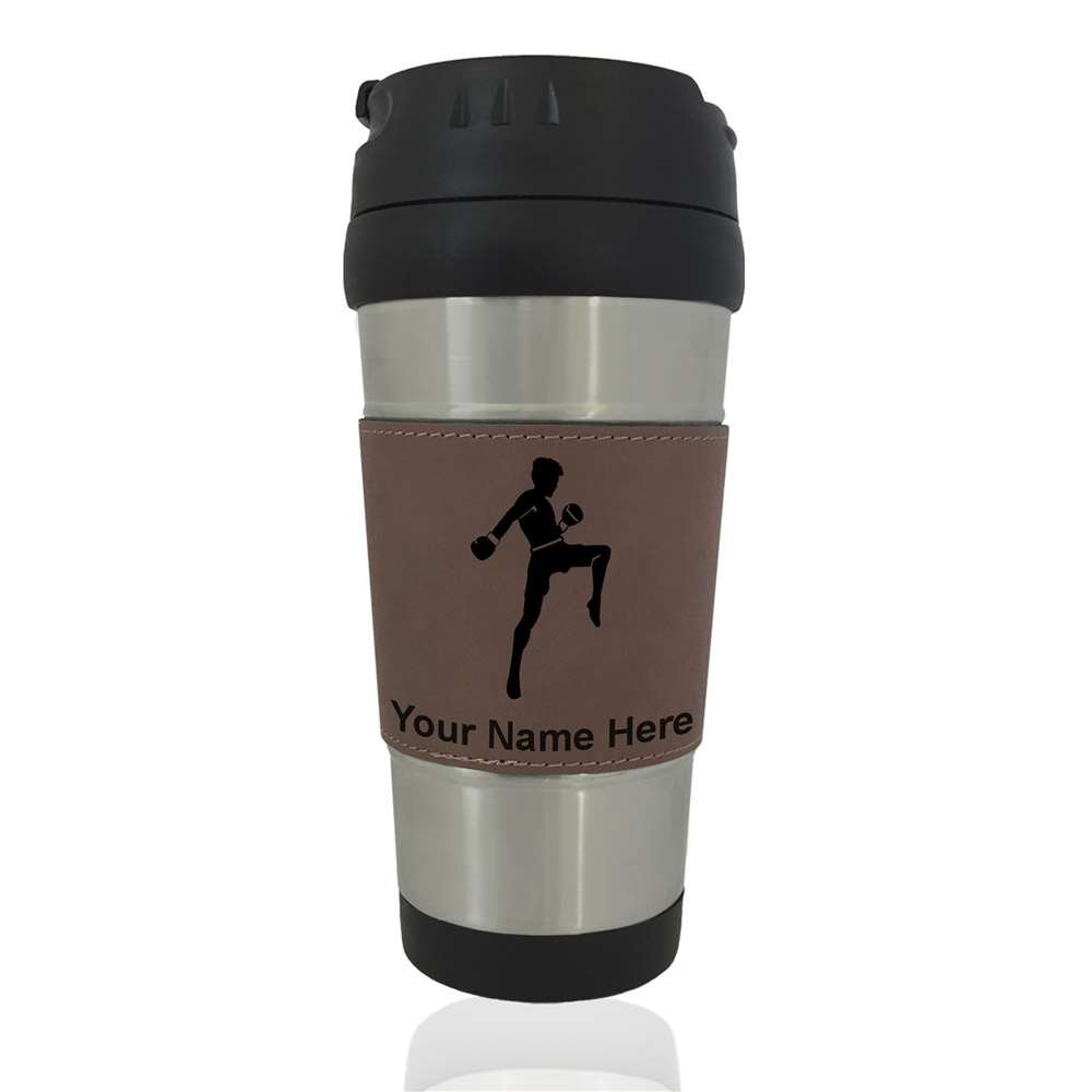 Travel Mug - Muay Thai Fighter - Personalized Engraving Included (Dark Brown)