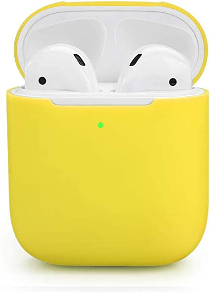 ZALU Compatible for AirPods Case Yellow 0.8mm Ultra-Thin Version Premium Protective Silicone Cover Skin for AirPods Charging Case 2 /& 1