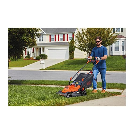 BLACK+DECKER Electric Lawn Mower, 10 -Amp, 15-Inch (BEMW472BH) 5 IMPROVED ERGONOMICS: Comfort grip handle makes the lawn mower easy to maneuver BETTER CLIPPING COLLECTION: Our winged blade achieves 30% better clipping collection NO MORE PULL CORDS: Push-button start makes starting the lawn mower a breeze