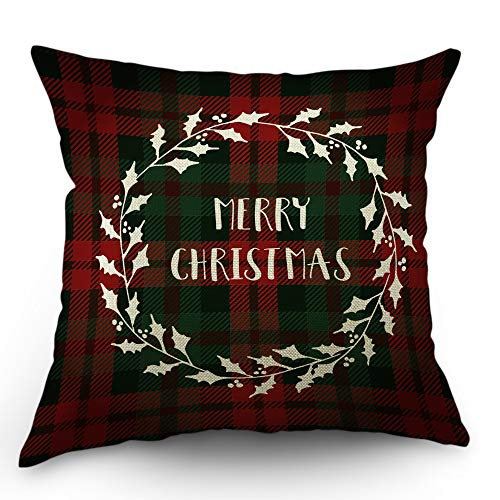 Moslion Gingham Pillow Cover Green Red Plaid Checkered Scottish Style Merry Christmas Throw Pillow Case 18x18 Inch Cotton Linen Canvas Square Cushion Decorative Cover Happy Father's Day Sofa Bed ()