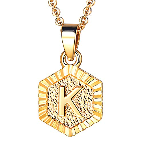 FOCALOOK K Initial Necklace Tiny Alphabet Charm 18K Gold Plated Letter Monogram Jewelry for Women Girls