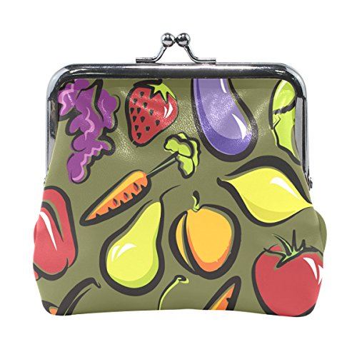 Ethel Ernest Funny Fruit And Vegetables Dish Coin Wallets Mini Purse for Womens Girls
