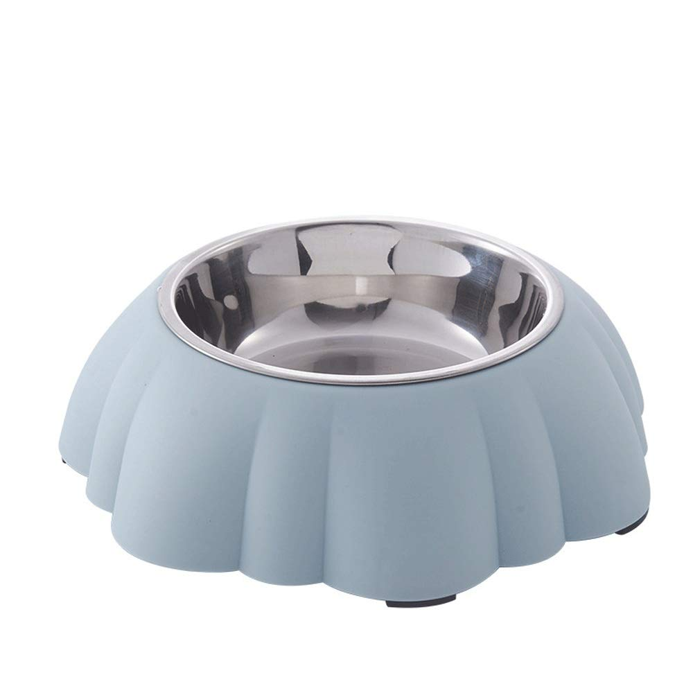 bluee HKJhk Pet Creative Dog Bowl Stainless Steel Plastic Dog Bowl Cat Bowl Cat Food Bowl Dog Food Bowl Drinking Water Bowl (color   bluee)