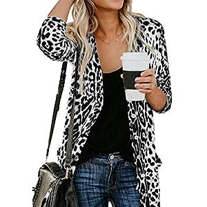 Women's Leopard Printed Cardigans Shirt Lightweight Button Down Cardigans Coat W Pockets(S-2XL)