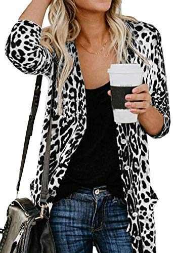 (Cheetah Print Cardigan Shirt for Women Open Front Printed Cardigan Tops Leopard Print Button Cardigan White)