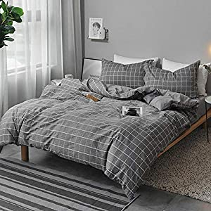 NANKO Twin Bedding Duvet Cover Set Grid, 2 Piece - 1000 - TC Luxury Hypoallergenic Microfiber Down Comforter Quilt Cover with Zipper Closure, Ties - Best Organic Modern Style for Men and Women - Gray
