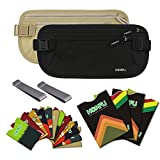 Homfu RFID Money Belt for Travel wallet with 6 x Credit Card Protector and 2 x Passport pouch holder Waterpoof Secure RFID-blocker waist pack stash for women men running (1 Beige & 1 Black)