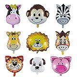 YIKEF Animal head Balloon Jumbo Balloons, Animal Foil Balloon, 9 Piece Party Animal Inflated Balloon...