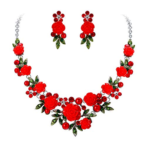(EVER FAITH Crystal Simulated Pearl Rose Flower Leaf Necklace Pierced Earrings Set Red Silver-Tone)
