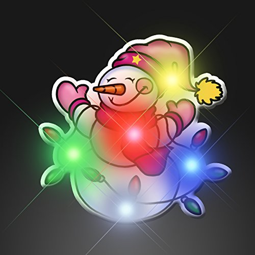 Snowman with Light Strand Flashing Blinking Light Up Body Lights Pins (5-Pack)