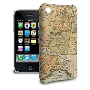 Phone Case For Apple iPhone 3/3GS - Vintage USA Map Back Wrap-Around