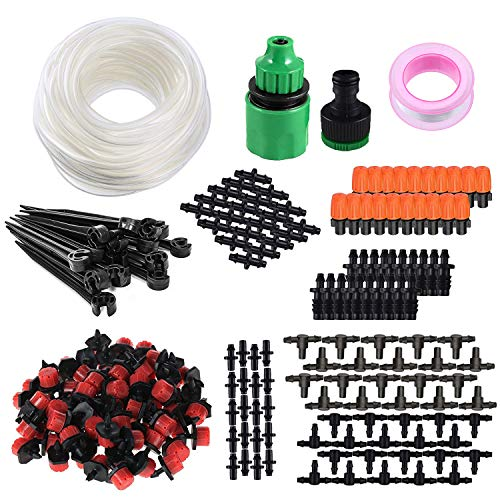 """Tvird Drip Irrigation System,Drip Irrigation Kit with 50ft Tubing Hose,Garden Irrigation System with Nozzle 1/4"""" Tubing(50ft),Barbed Tee,Tee Pipe Connector,Barbed Couplings,Single Barbed Couplings ()"""