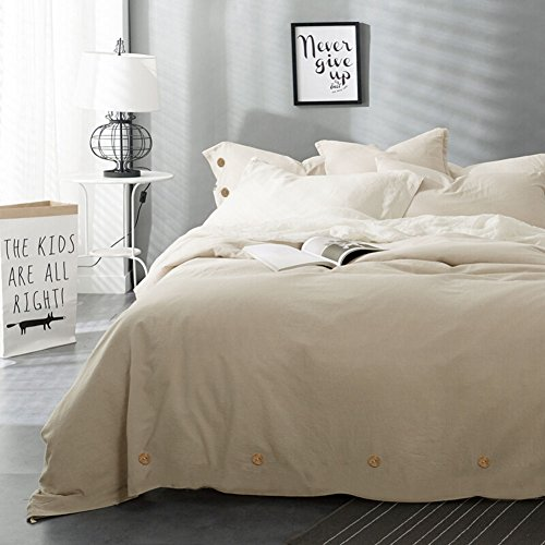 NANKO Beige Duvet Cover Set Queen, 3 pc - 90 x 90 Hotel Bed Luxury Hypoallergenic Microfiber Down Comforter Cover with Deco Buttons, Zip, Ties - Best Modern Style for ()