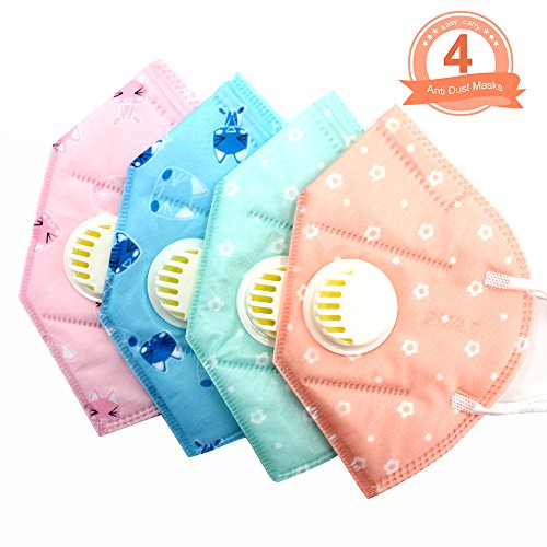 Fomei Adorable Cute Kids 4PCs 4 Layer Kitty Flower Printed Non-woven Fabric Surgical Dust Filter Ear Loop Children Mouth Mask of Radiant Color