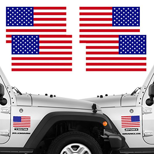 Decal American Vinyl Car Sticker (Reflective Full Color American Flag Stickers 2 Pairs Bundle 3