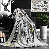 Nalagoo Unique Custom Flannel Blankets Set Of Asian Dishes Thai Food Noodles And Rice Super Soft Blanketry for Bed Couch, Twin Size 80'' x 60''