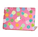 Rubberized Hard Case for 13 inch Macbook Air model number A1369 and A1466, Colorful pineapples design with the pink bottom case, Come with Keyboard Cover