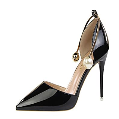 666f1296a61e Manyis New Women High Heels Shoes Ankle Pearl Stilettos Pointed-toe Metal  Pump Sandals  Amazon.co.uk  Shoes   Bags