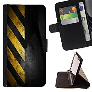 DEVIL CASE - FOR Samsung Galaxy Note 4 IV - Traffic Sign Yellow Tape Black Stripes - Style PU Leather Case Wallet Flip Stand Flap Closure Cover