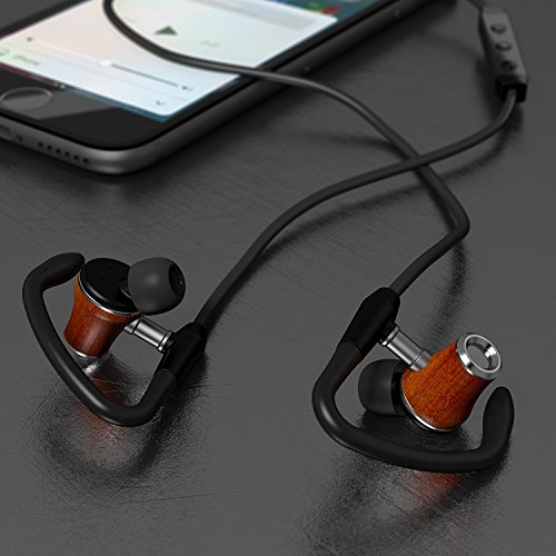 Symphonized NRG S Genuine Wood Bluetooth Earbuds | Wireless In-ear Noise-isolating Headphones | Earphones with Angle-Fit Ear Tips, Comfort Neckband, Mic, & Volume Control - Black - Daily Bud Earbuds