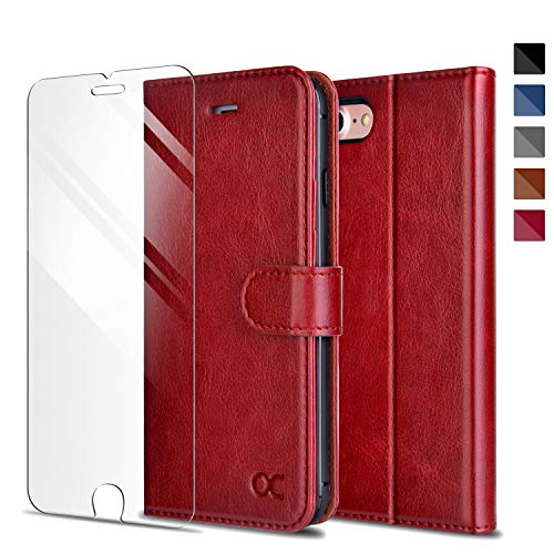 OCASE iPhone 7 / iPhone 8 Wallet Case [Card Slot] [Kickstand] [TPU Shockproof Interior Protective Case] Leather Flip Case for iPhone 7/8 Devices 4.7 Inch-Red