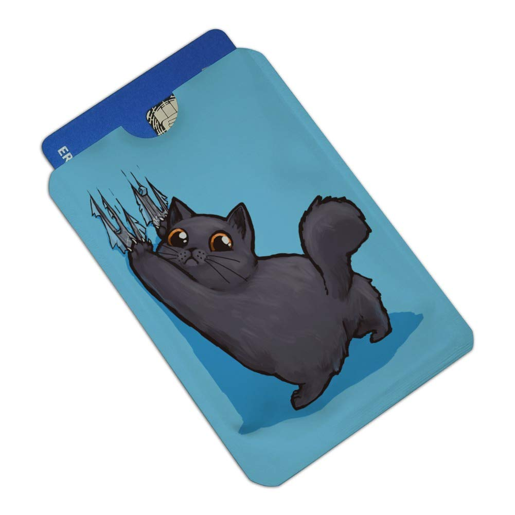 Kawaii Cute Cat Scratching Wall Credit Card RFID Blocker Holder Protector Wallet Purse Sleeves Set of 4