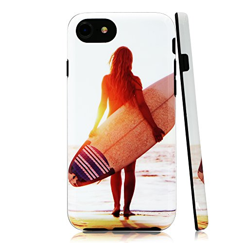 Lartin Sexy Surfer Girl on the Beach at Sunset Soft Flexible Jellybean Gel TPU Case for iPhone 8/iPhone 7/iPhone 6S/iPhone 6 - Jelly Bean Case