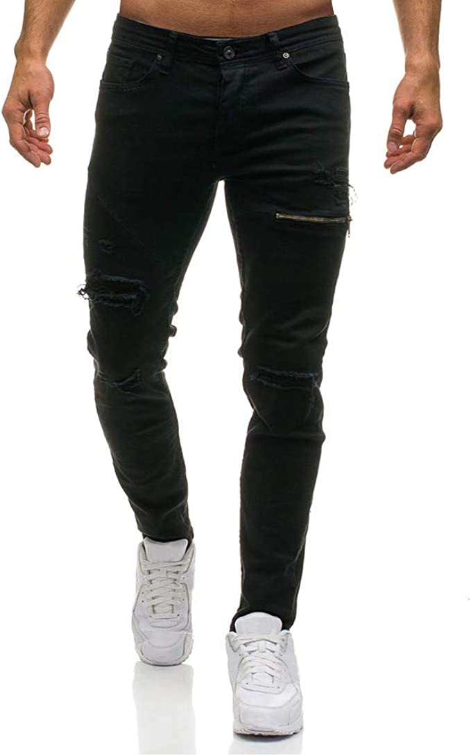 baskuwish Mens Ripped Distressed Destroyed Straight Fit Washed Denim Jeans Slim Fit Straight Denim with Broken Holes