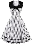 Vintage Polka Dot Retro Cocktail Prom Dresses 50's 60's Rockabilly Women Sleeveless Aline Party Swing Midi Tea Dress